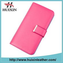 Beautiful pu leather women long wallet cheapest price zipper pocket