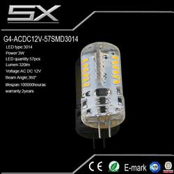 Super bright 3.2w g4 led chandelier lights base smd5050*16 210 lumen 8-24vac led lattice 10w gu10