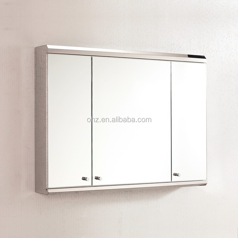 Large storage space stainless steel mirror cabinet with three doors 7039 buy mirror cabinet for Tall stainless steel bathroom cabinet