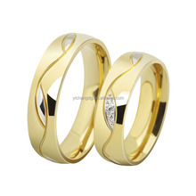 Fashion Cz Diamond Couple Rings For Men Women 18k Gold Plated Stainless Steel Wedding Ring Pair Fine Jewelry
