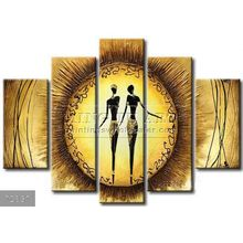 Handmade New Modern Group African figure oil painting,Sunny Africans