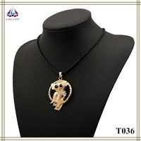 Thin Rope Necklace Night Owl Pendant Necklace Stretch Necklace