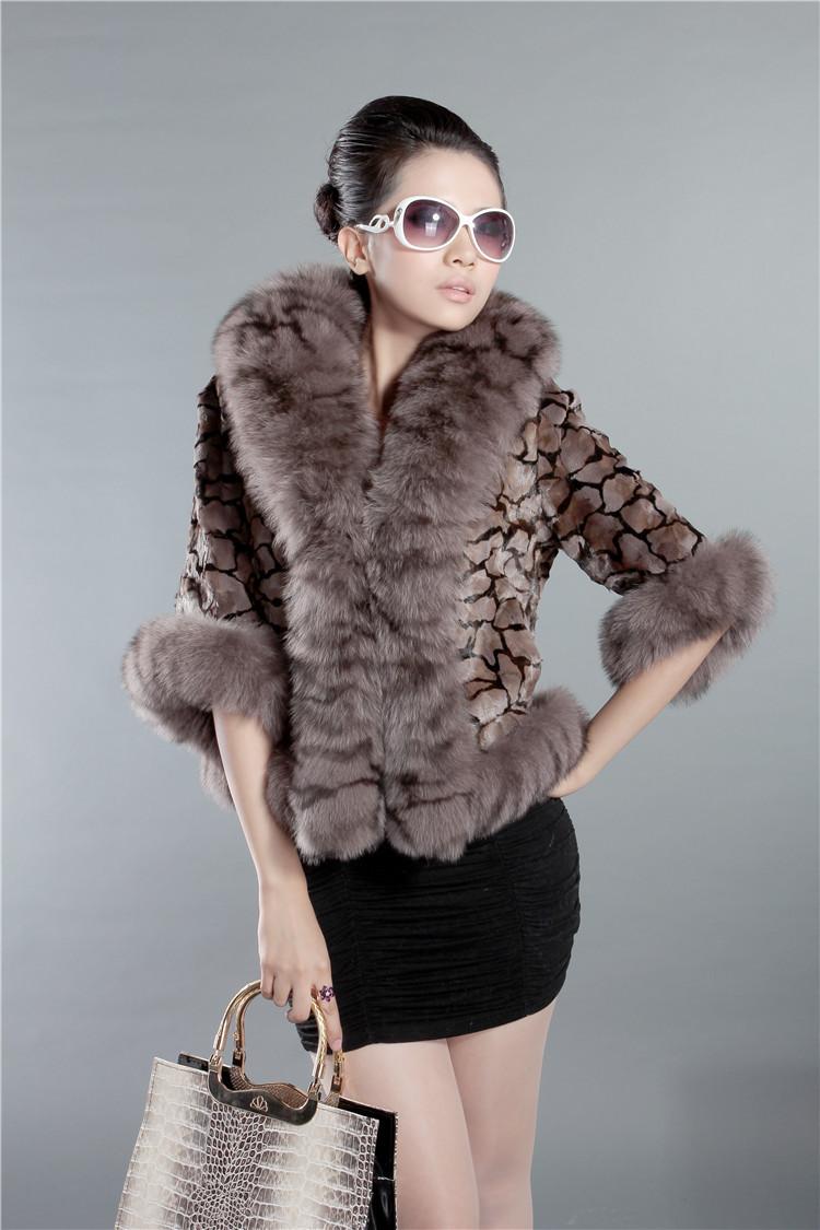 2014 Women mink fur coat with turn down fox fur collar&half sleeve Dress short woman coats