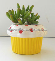 sweet heart cupcake ceramic mini flower pot