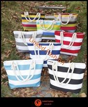 2015 Stripe women canvas handbag, whosale canvas tote bag, canvas beach bag with rope handle bolsa de galon saco