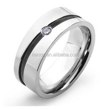 316l Stainless Steel Ring Cubic Zirconia Ring Men's Black Stripe Wedding Band