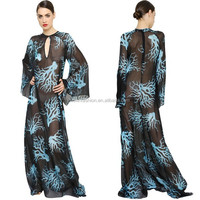 2015 Women round neck long sleeve sexy sheer pakistani burqa designs