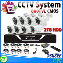 Cheapest Analog Camera 3.6mm IR-Cut Metal Housing camera 8 channel dvr security system with 2TB HDD