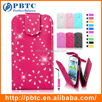Set Screen Protector Stylus And Case , Bling Leather Wallet Case For Samsung Galaxy Fame S6810