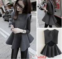 2015 AUTUMN EUROPEAN FRILLS BALL SWEEP WOOLEN SUNDRESS AND T SHIRT SUIT DRESS