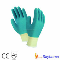 Green Latex Gloves With 13G Polyester Shell