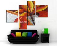 4 piece decor art set modern wall art Maple Leaf Abstract hand painted Oil Painting on Canvas for living room decoration