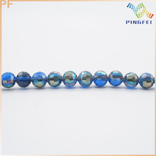 12mm Transparent Half Plated Blue Faceted Glass Beads