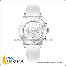 White 316L stainless steel couple lover fashion watch UN4053 with silicone band