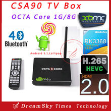 2015 New arrival CSA90 Andriod 5.1 RK3368 Smart TV Box Octa Core 1GB/8GB Bluetooth WiFiSmart Media Player Support BT4.0,H.265,