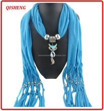 Fashion polyester tassels fox head pendant scarf