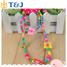 2015 New Handmade Acrylic Necklace Bracelet Set Gift Party fashion jewelry set Cute Kids butterfly beaded Necklaces