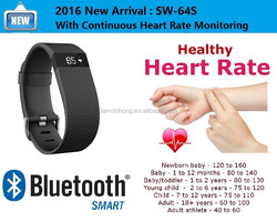 Fitness Tracker Heart Rate Monitor Bluetooth 4.0 Health bands Silicone Wristband SW-64S Sports Smart Bracelet Pedometer