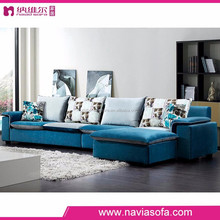 Wholesale home furniture Small corner blue color with Chaise longue corner couch