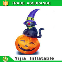 210cm height Yard Prop Airblown Inflatable Scary Cat On Pumpkin for Halloween