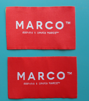 Factory made red and white woven fabric label for suit