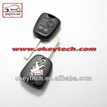 Okeytech Peugeot 307 2 botones shell remoto clave sin ranura para la llave del telecontrol de peugeot 307