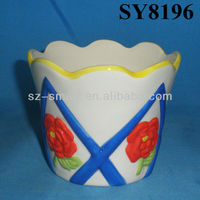 Embossed planter pot for sale carving flower hand painting ceramic garden pot
