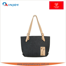 2015 Fashion Ladies Tote Felt Bag with PU Leather Logo for Promotion
