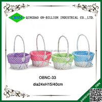 Dots liner cute white easter wicker basket with handle