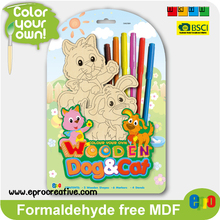 EPRO CA9226A best selling kids diy wooden toys, dog & cat design color your own diy wooden stand