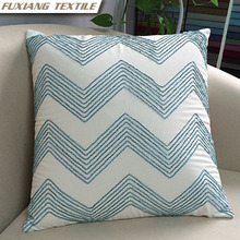Embroidered geometric cotton wave blue decoration cushion for Home