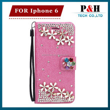 New arrival leather case for iphone6, for iphone 6 bling wallet case, for iphone 6 diamond case