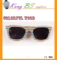 HAND MADE polarized colorful wood sunglasses in Chinese factory
