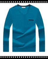 Blank Cotton V-Neck Tall T Shirts Long Sleeve Men