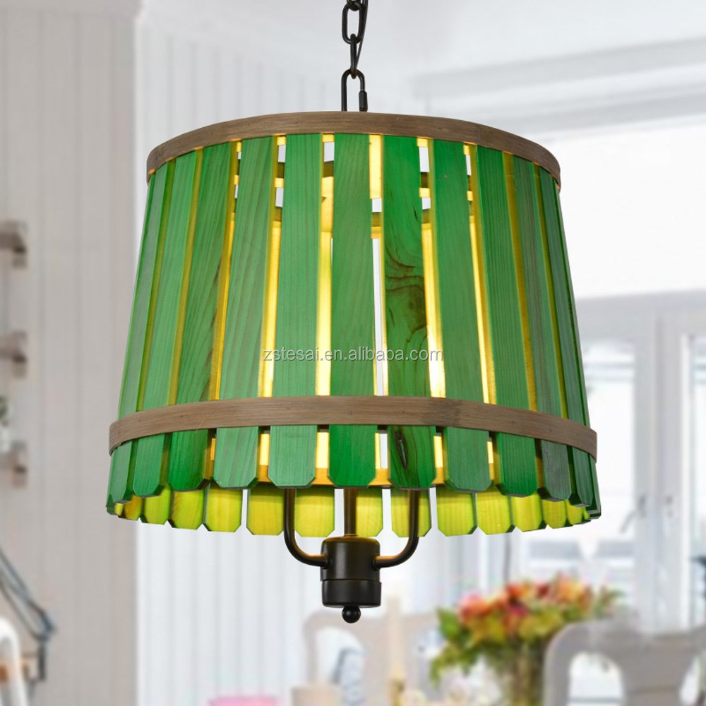 Green Bamboo Popular Wooden Shade Decorative Pendant Lamp