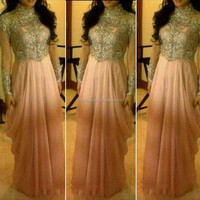 Shimmery High Neck Illusion Long Sleeve Saudi Arabic Sequins Beaded Ruffle Pink Chiffon Dubai Prom Dresses fmg02