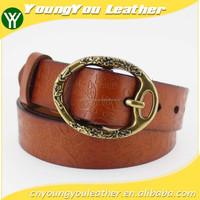 2015 desinger fashion genuine ladies belt with delicate bronze embossed buckles