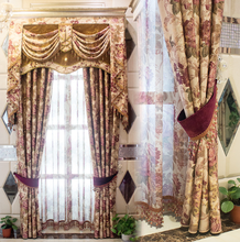 American Pastoral printing style big flower curtain with tassel valance