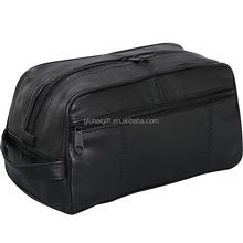 Large Genuine Black Leather Travel Kit Shaving Mens Cosmetic Toiletry Bag Pattern