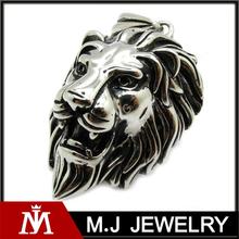 Gothic Lion Cougar Cabeça de prata aço inoxidável cadeia pingente Masculina