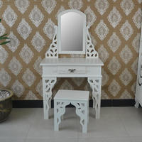 Glossy White Bedroom Dresser Table Set Makeup Desk with Mirror and Stool
