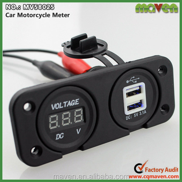 usb power outlet car adapter 12v battery meter digital voltage for quad bike go kart mv58025. Black Bedroom Furniture Sets. Home Design Ideas