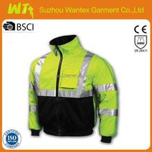 Professional reflective winter flame retardant jacket for man fluo yellow varsity jacket dress life jacket clothing
