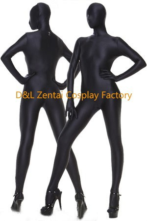 Free Shipping DHL Hot Halloween Sexy Costumes Full Body Lycra Zentai Spandex Unisex Suit In Black For Woman Plus Size (2)