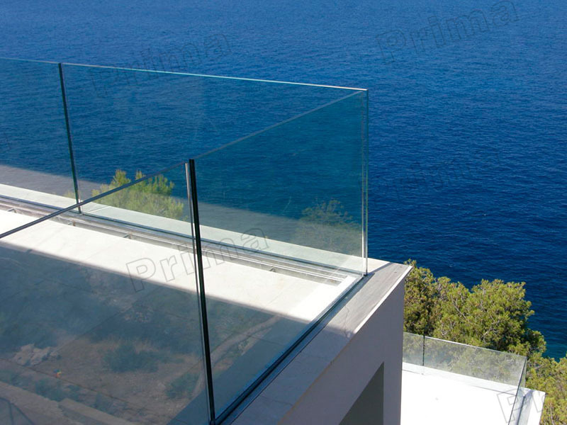 Aluminum U Channel Railing Frameless Glass Balustrade