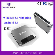 INST High Quality Wintel W8 window tv box with 2G/32G Android 4.4 & Windows8.1 dual system 1080p android tv box dvb t2