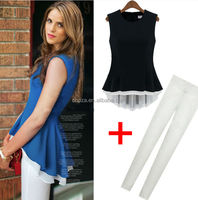 C23789A SUMMER HIGH QUALITY WOMAN CHIFFON SHIRT TOPS PANTS TWO PIECES CLOTHING