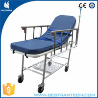 BT-TR013 hospital emergency trolleys,stainless steel patient transport stretcher