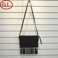 Fringe tassel bag women crossbody lint bag black rivet sling bag