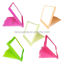 Colorful plastic bling pocket mirror / glitter square palstic mirror foldable / beauty promotinal 2 folds plastic mirror square